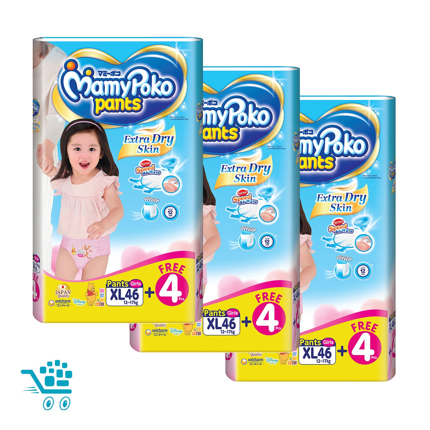 MamyPoko Extra Dry Skin Pants Bonus Pack Girl XL 46+4 pieces x 3 packs