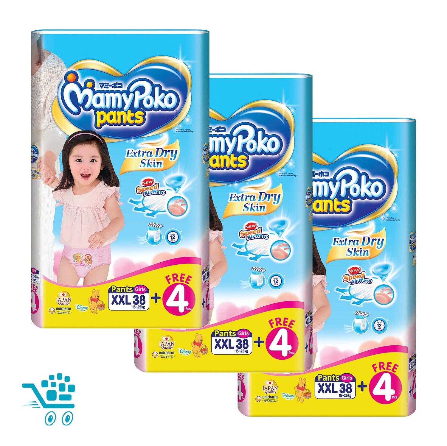 MamyPoko Extra Dry Skin Pants Bonus Pack Girl XXL 38+4 pieces x 3 packs