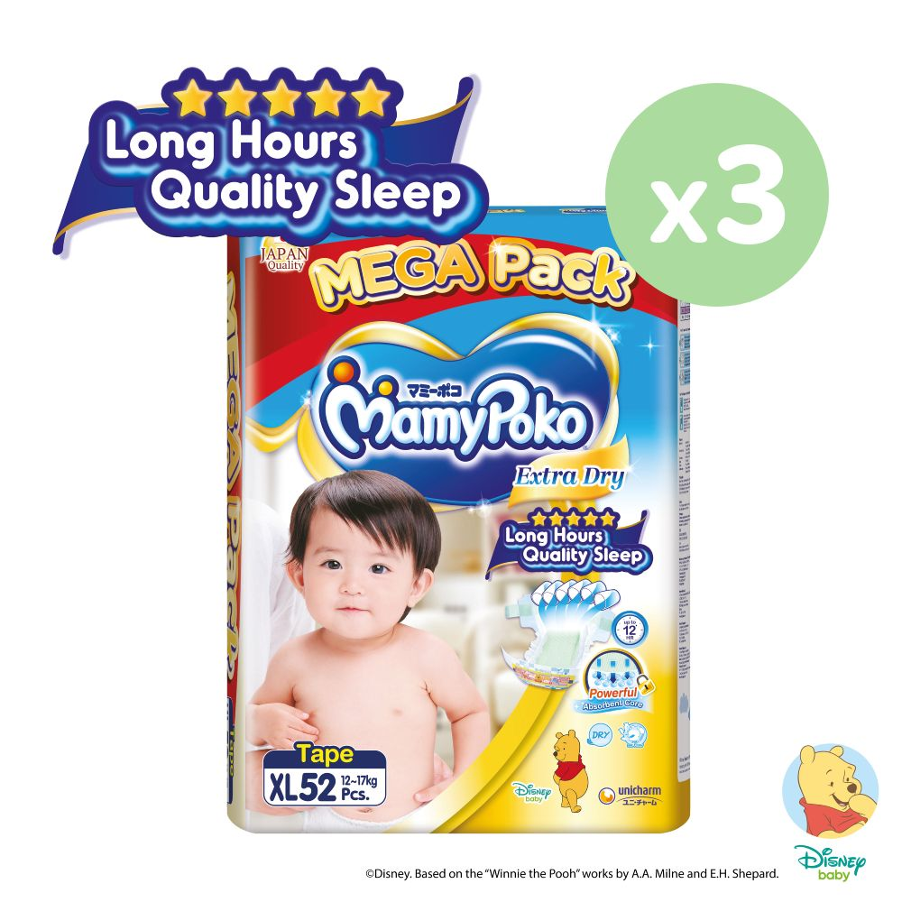 MamyPoko Extra Dry Tape XL 52 x 3 packs