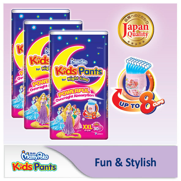 MamyPoko Kids Pants for Night Time - Girl XXL 30 pieces x 3 packs