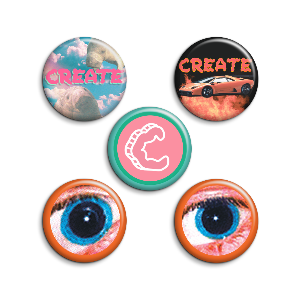 5 Pack Blue Eyes Buttons