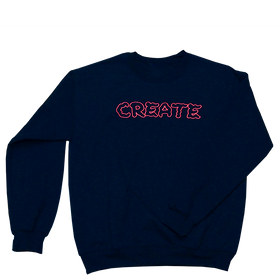Navy Wobble Crew Neck Embroidered