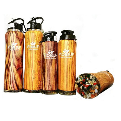 A small & a large wood grain & real gemstone vibe water bottle from VibesUP
