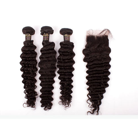 Brazilian Deep Wave Human Hair 3pcs Bundle & Lace Closure Deal - 12+12+12+10 closure $200.00 Bundle & Closure Deals QualityHairByLawlar