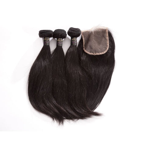 Brazilian Straight Human Hair 3pcs Bundle & Lace Closure Deal - 12+12+12+10 closure $185.00 Bundle & Closure Deals QualityHairByLawlar