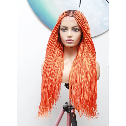 Knotless Braids Lace Frontal Box Braided Wig in Spring Orange - Medium- 56cm $290 Knotless Braids QualityHairByLawlar
