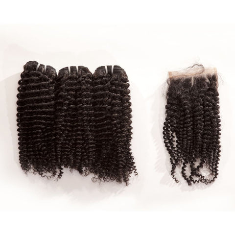 Mongolian Kinky Curly Human Hair 3pcs Bundle & Lace Closure Deal - 12+12+12+10 closure $200.00 Bundle & Closure Deals QualityHairByLawlar