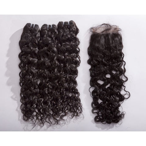 Peruvian Water Wave Human Hair 3pcs Bundle & Lace Closure Deal - 14+14+14+12 closure $225.00 Bundle & Closure Deals QualityHairByLawlar