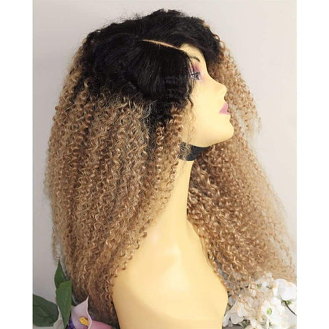 Russian Curly Ombre Human Hair Lace Front Wig - Medium - 56cm $450.00 Lace Front Wig QualityHairByLawlar