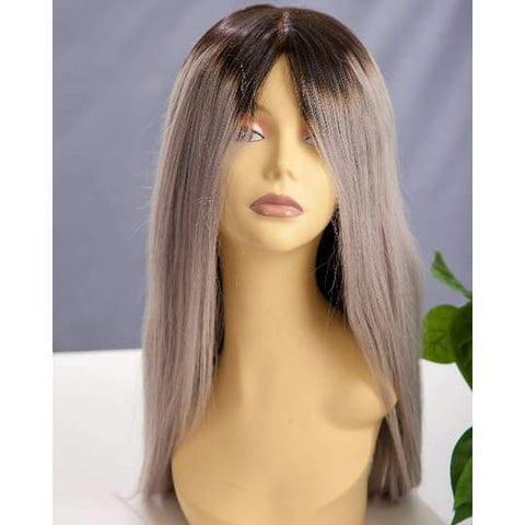 Russian Human Hair Lace Front Wig (Grey Ombre) - Medium - 56cm $360.00 Lace Front Wig QualityHairByLawlar