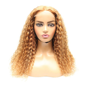 Strawberry Blonde Russian Curly Ombre Human Hair Lace Closure Wig - Medium - 56cm $440 Lace Front Wig QualityHairByLawlar