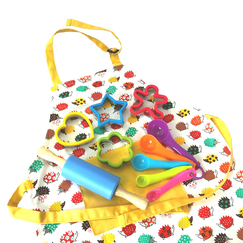 Daju Kids Apron and Cooking Set - Hedgehogs Apron, Cookie Cutters, Mini Rolling Pin and Measuring Spoons