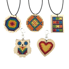 Daju Cross Stitch Pendant Kit - Craft kit for kids - Makes 5 Pendants - Daju Toys