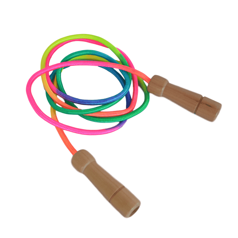 Daju Skipping Rope for Kids - Pack of 2 - Adjustable Length with Wooden Handles