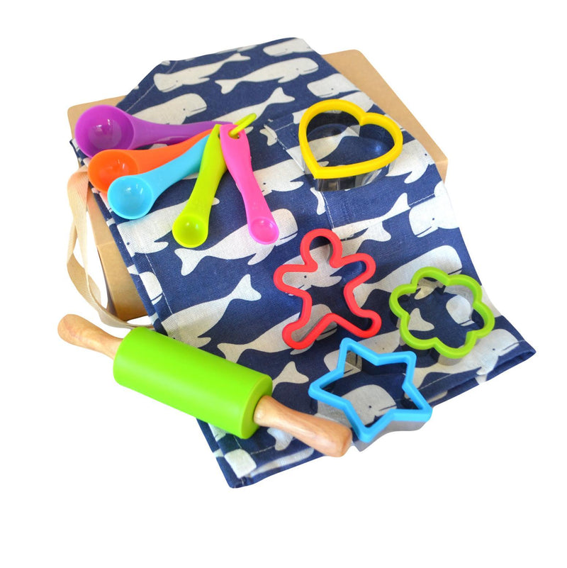 Daju Kids Apron and Cooking Set - Whales Apron, Cookie Cutter, Mini Rolling Pin and Measuring Spoons - Daju Toys
