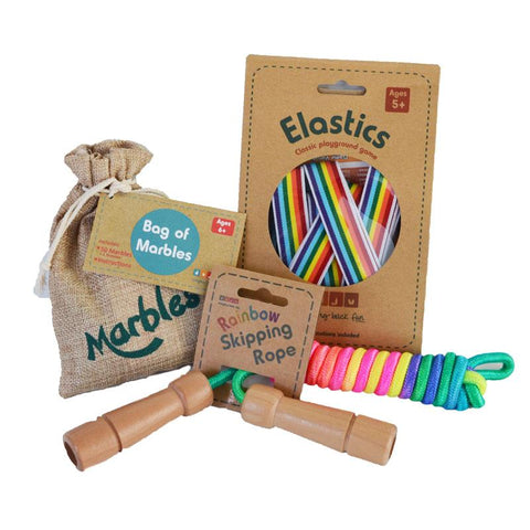 Daju Retro Games Gift Set - Elastics, Marbles, Skipping - Classic Playground Games