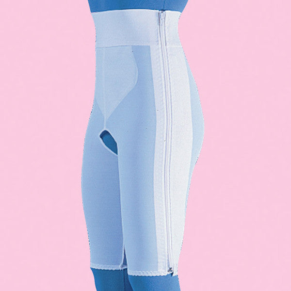 Compression Girdle Above Knee - Contact Closure with Zipper, White (#2006)
