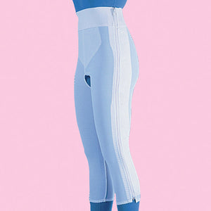Compression Girdle Below Knee - Contact Closure with Zipper, White (#2007)