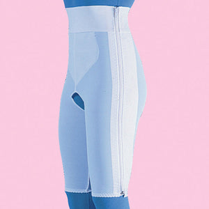 Compression Girdle Above Knee - Hook and Eye with Zipper, White (#2013)