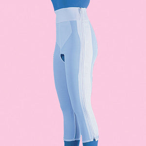 Compression Girdle Below Knee - Hook and Eye with Zipper, White (#2014)