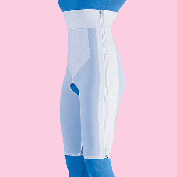High Waist Compression Girdle Above Knee - Contact Closure with Zipper, White (#2060)