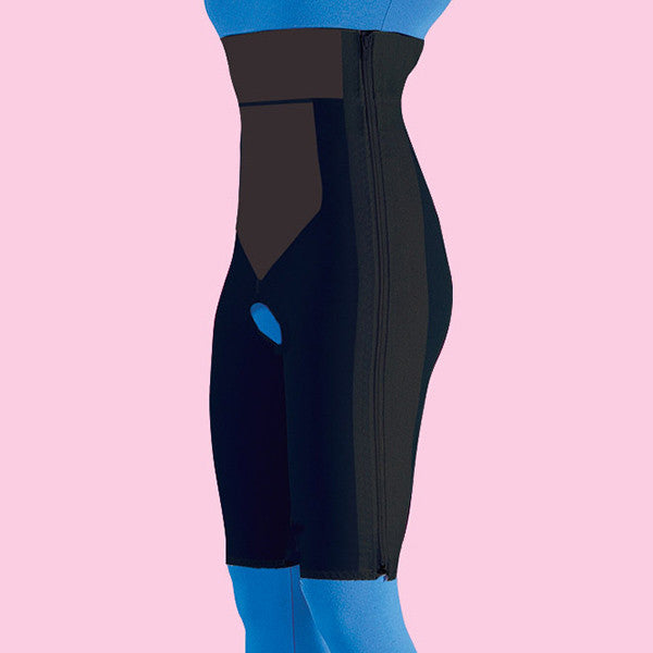 High Waist Compression Girdle Above Knee - Contact Closure with Zipper, Black (#2061)