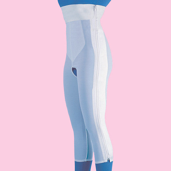 High Waist Compression Girdle Below Knee - Contact Closure with Zipper, White (#2070)