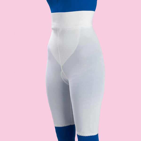 High Waist Compression Girdle Above Knee - 2nd Stage, White (#2079)