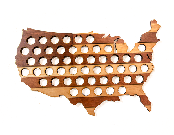 USA Beer Cap Map with Dark Stripes