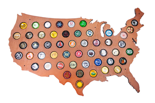 USA Beer Cap Map with Cherry Stain