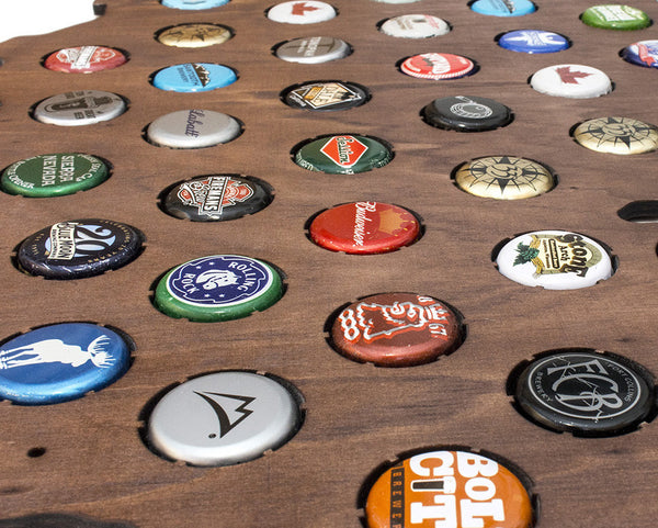 California Beer Cap Map with Dark Walnut Stain