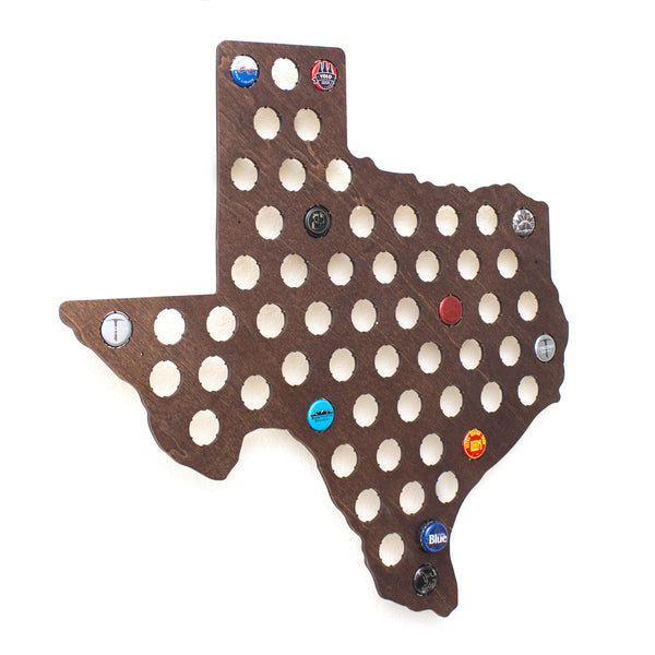 Texas Beer Cap Map with Dark Walnut Stain
