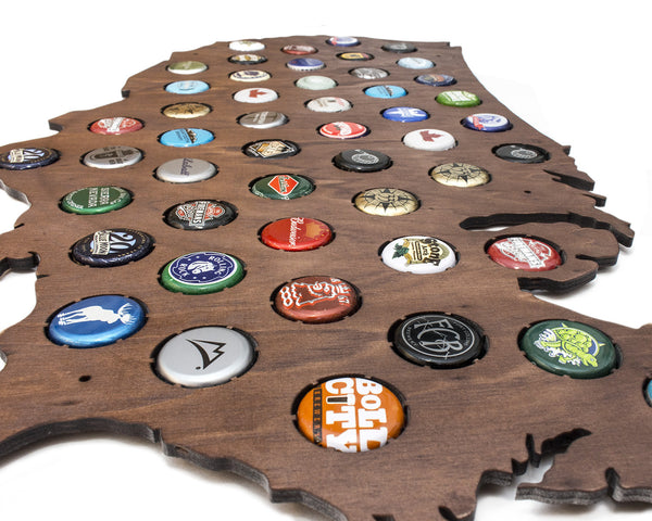 US Beer Cap Map with Dark Walnut Stain