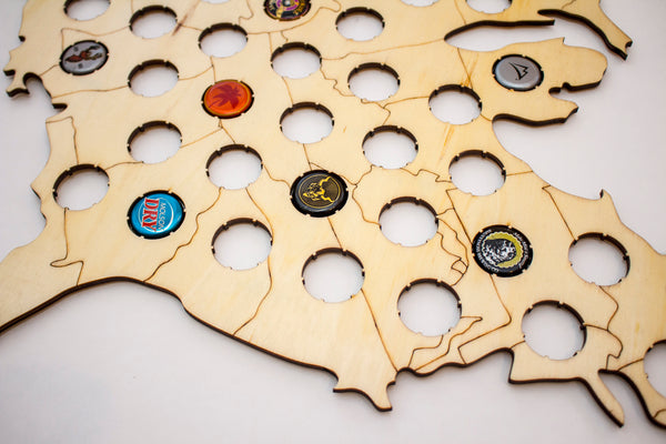 USA Beer Cap Map with Natural Grain