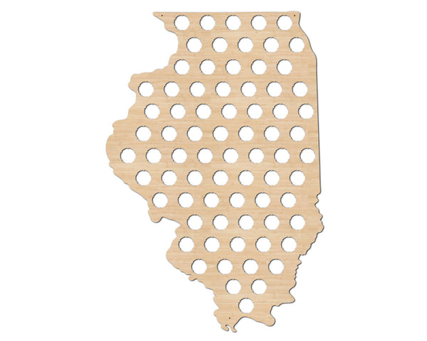 Illinois Beer Cap Map State Flag
