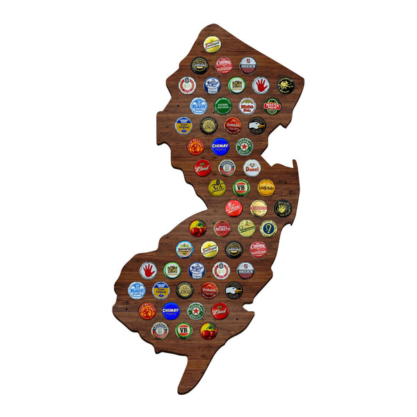 Dark NJ Beer Cap Map New Jersey