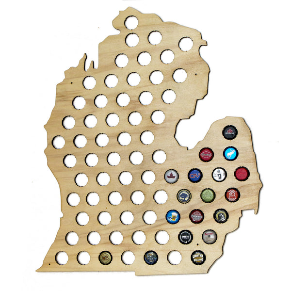 Michigan Beer Cap Map - Craft Beer Cap Collector
