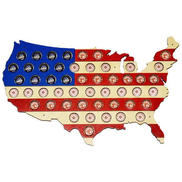 USA Beer Cap Map Red White and Blue