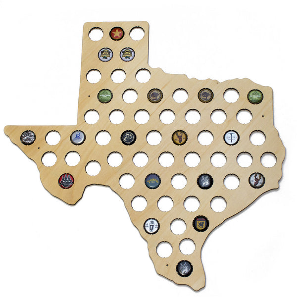 Texas Beer Cap Map - Craft Beer Bottle Cap Holder