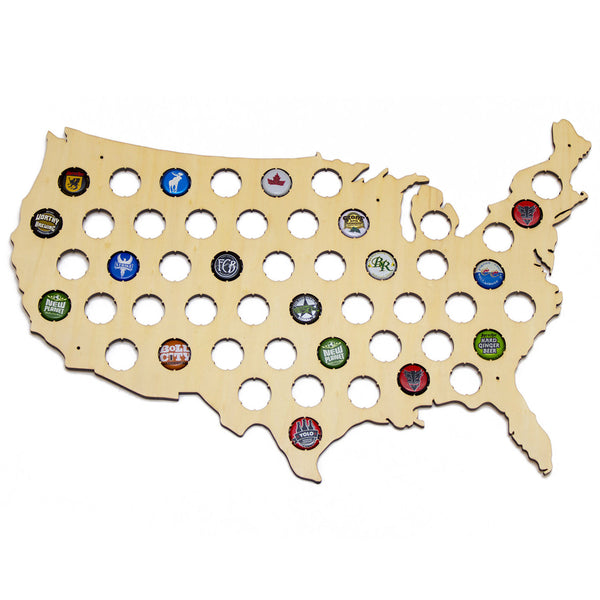 USA Beer Cap Map - Holds Craft Beer Bottle Caps
