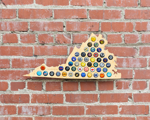 Virginia Beer Cap Map - Craft Beer Cap Holder