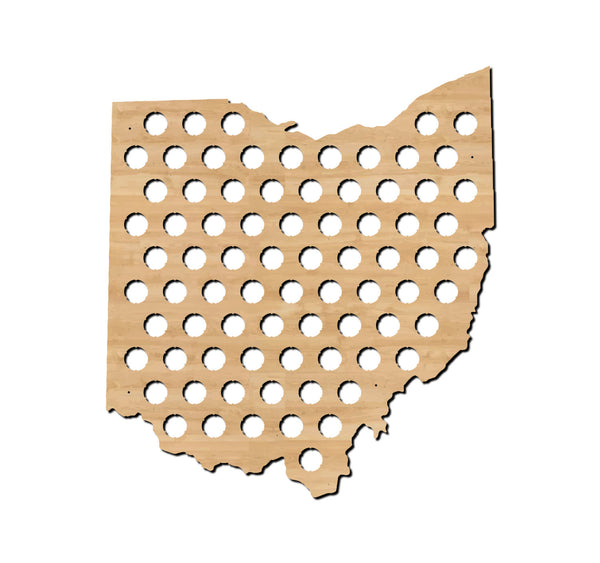 beer cap map, ohio, state map