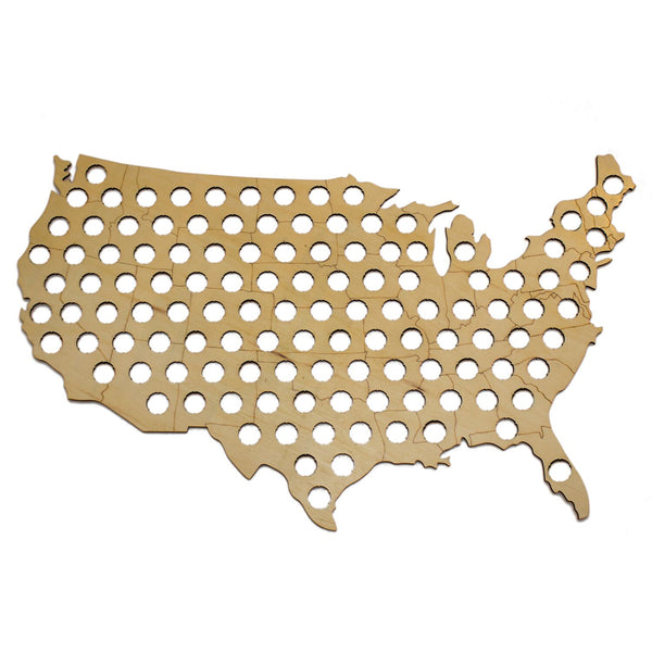 Giant US Beer Cap Map - Holds OVER 100 Caps