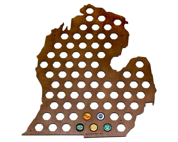 Michigan Beer Cap Map with Dark Walnut Stain