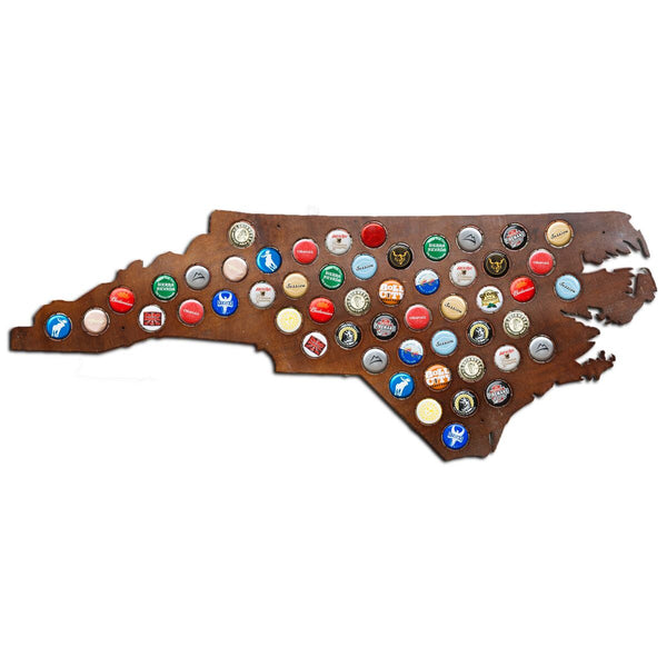 North Carolina Beer Cap Map with Dark Stain
