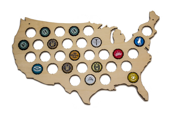 US Beer Cap Map (Small) - Holds 32 Craft Beer Bottle Caps