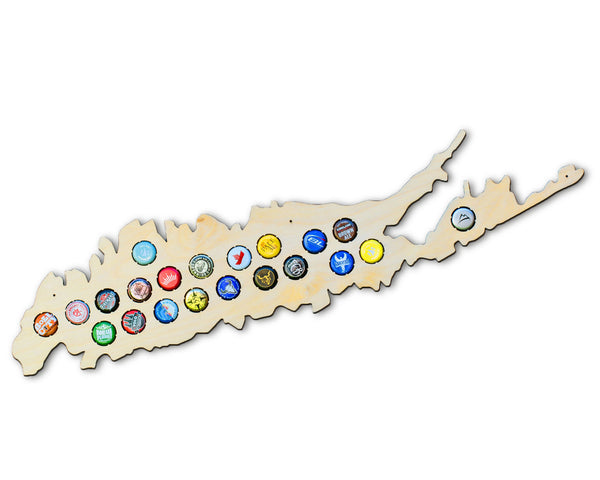 Long Island Beer Cap Map - New York Beer Cap Collector Art