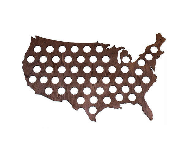 USA Beer Cap Map with Dark Walnut Stain