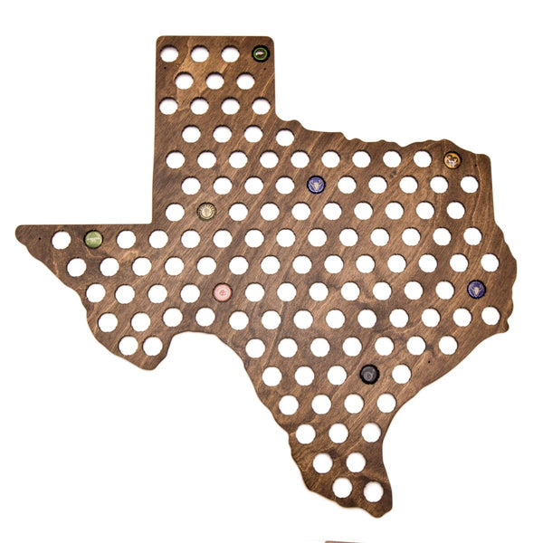 Giant Texas Beer Cap Map with Dark Walnut Stain
