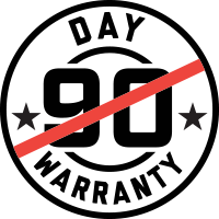 Longer than 90 day warranty badge.